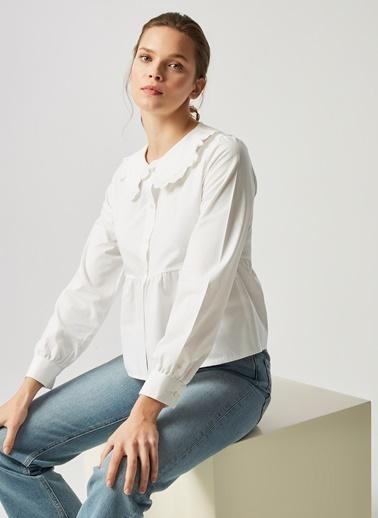 Monamoda Bebe Yaka Dantelli Gömlek Beyaz
